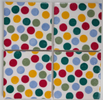 4 Ceramic Coasters in Emma Bridgewater Polka Dot Stack